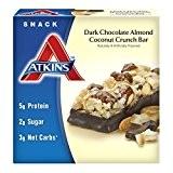 Atkins, Avantage, Barre de chocolat noir aux amandes de noix de coco, 5 barres, 1,4 oz (40 g) de Chaque