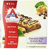Atkins, Avantage, Barre de granola aux pépites de chocolat, 5 barres, 1,7 oz (48 g) de chaque