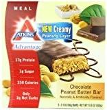 Atkins - Pack de 5 Barres Chocolatées au Beurre de Cacahuète (Advantage Chocolate Peanut Butter Bar) - 60 g de ...