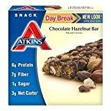 Atkins, Pause du jour, Collation matinale / Petit déjeuner léger de barre de chocolat aux noisettes, 5 barres, 1,4 oz ...