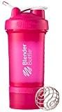 Blender Bottle ProStak  650 ml Gourde Secoueur avec Boîtes Supplémentaires 100,150 ml + Compartiment à Pilules Rose