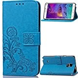 BONROY® Coque pour Samsung Galaxy Note 4 IV N910,Housse en cuir pour Samsung Galaxy Note 4 IV N910,Motif trèfle chanceux ...