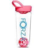FORZA FITNESS Shaker Mixball - Avec boule de mixage pour substituts de repas, sachets hyperprotéinés - 700ml - Rose