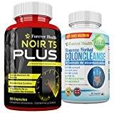 T5 Noir PLUS + Colon Cleanse Nettoyage Du Côlon Naturel - Comprimé Minceur FORTE Pour Une Perte de Poids RAPIDE ...